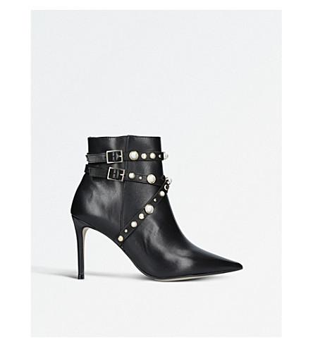 CARVELA Granite faux pearl-embellished leather ankle boots (Black