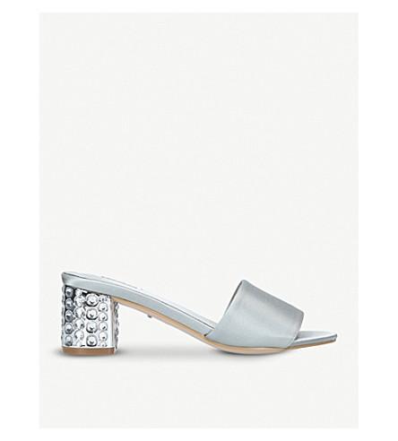 CARVELA Goss satin embellished mules (Grey