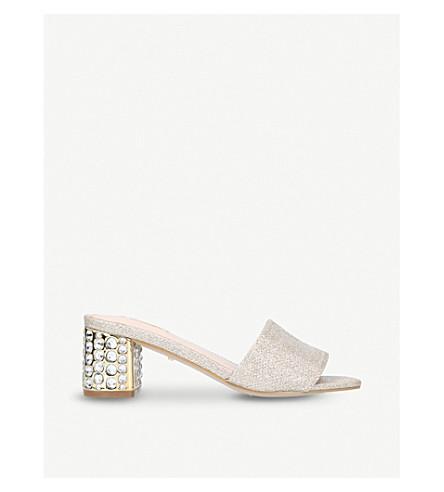 CARVELA Goss fabric-knit embellished mules (Gold