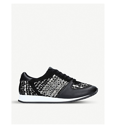CARVELA Lake leather and fabric trainers (Black