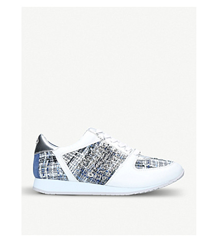 CARVELA Lake leather and knit-fabric trainers (White/comb