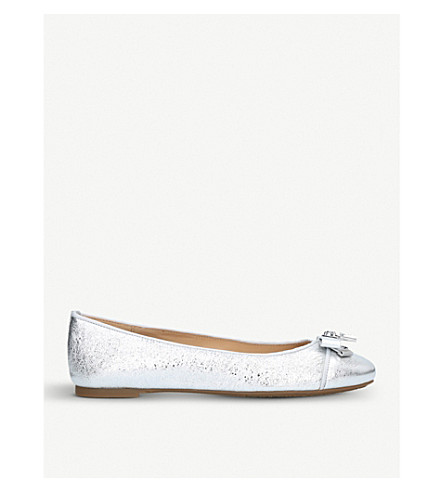 MICHAEL MICHAEL KORS Alice metallic leather ballet shoes (Silver