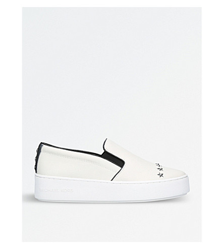 MICHAEL MICHAEL KORS Trent star-embellished leather trainers (White