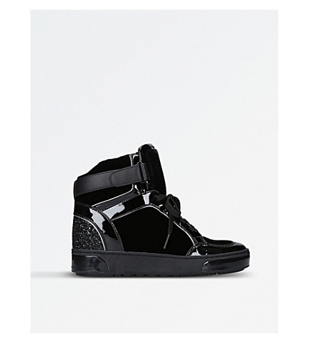 MICHAEL MICHAEL KORS Pia patent high-top wedge trainers (Black