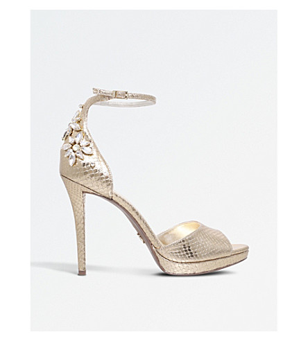 MICHAEL MICHAEL KORS Patti snake-print metallic sandals (Gold
