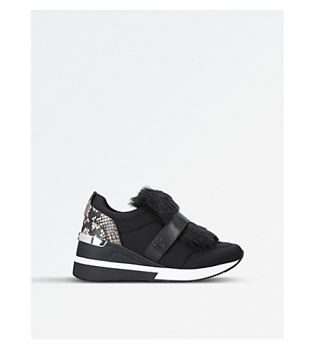 MICHAEL MICHAEL KORS Maven fabric and fur trainers (Black