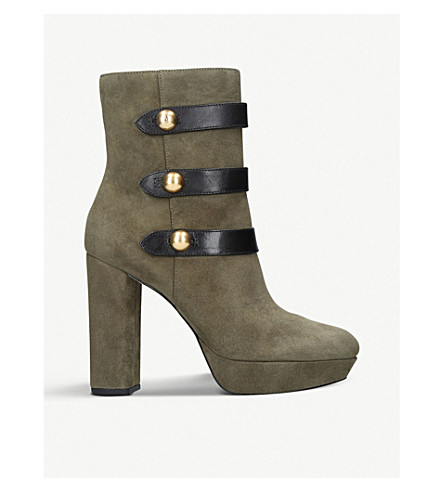 MICHAEL MICHAEL KORS Maisie buttoned suede ankle boots (Khaki