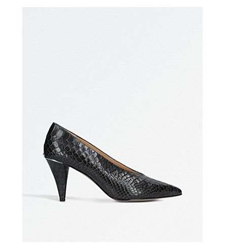 MICHAEL MICHAEL KORS Lizzy reptile-print leather courts (Grey/dark