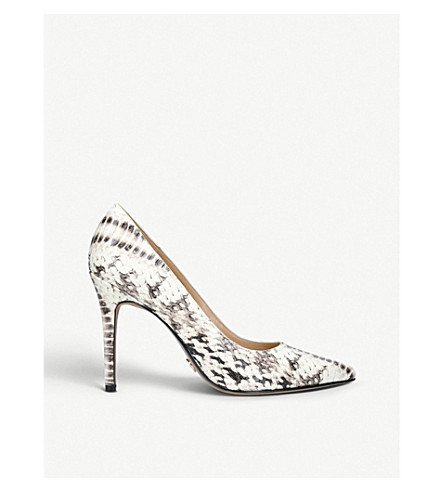 MICHAEL MICHAEL KORS Claire snake-embossed leather courts (Grey/p.cmb