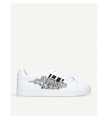 CARVELA Lustre embellished leather trainers (White