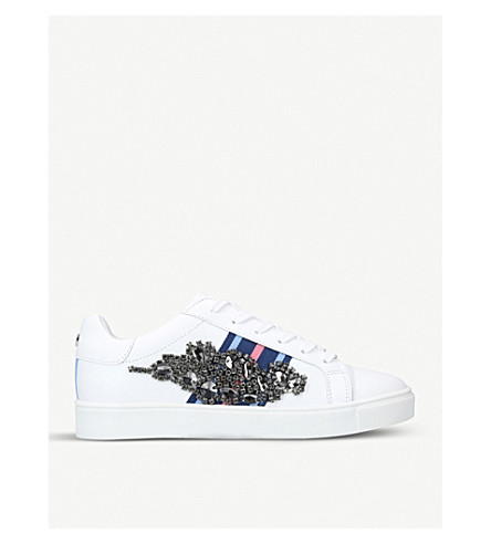 CARVELA Lustre embellished leather trainers (White/oth
