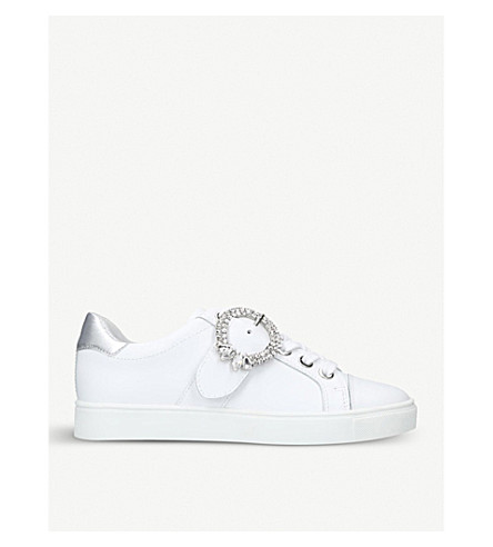 CARVELA Lupin brooch-detail leather trainers (White