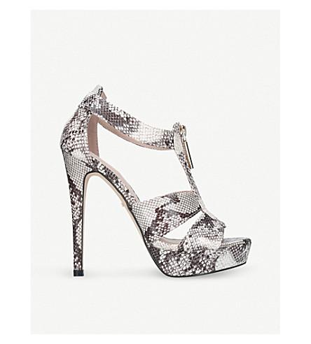 CARVELA Girly snakeskin-embossed heeled sandals (Beige+comb