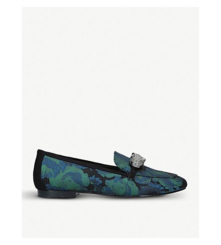 CARVELA Lightening floral embellished jacquard loafers (Green+comb