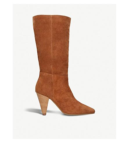 CARVELA Shimmy cone-heel suede boots (Tan