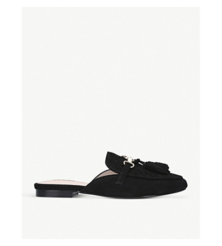 CARVELA Long woven suede mules (Black