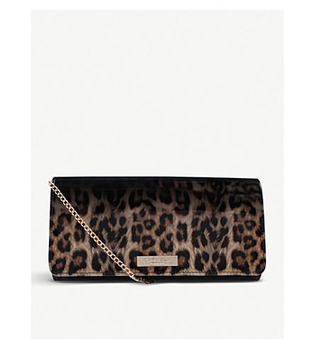 CARVELA Alice leopard-print patent clutch (Black/comb