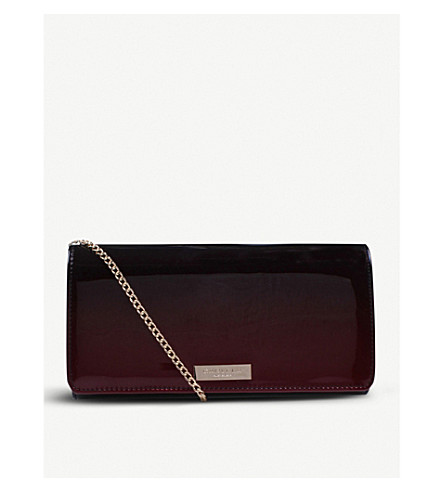 CARVELA Alice ombré patent clutch bag (Wine