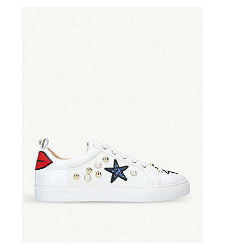 KURT GEIGER LONDON Lippy embroidered and embellished trainers (White