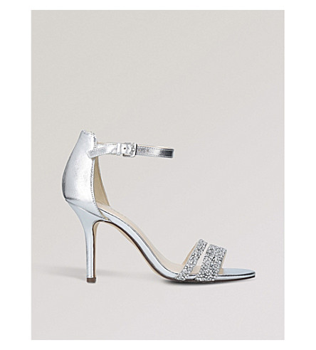 NINE WEST Ammuri embellished low heel sandals (Silver