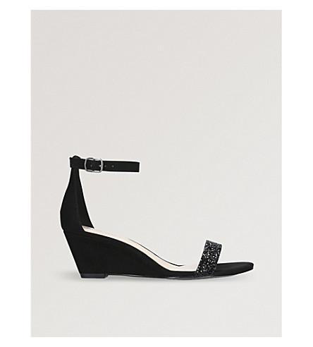 NINE WEST Posen embellished-strap wedge sandals (Black