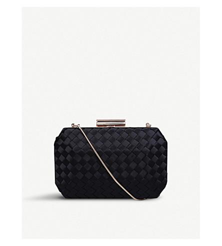 CARVELA Gianni woven satin clutch bag (Black