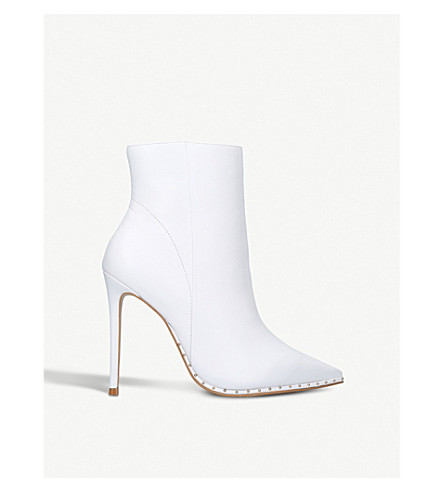 CARVELA Spectacle leather studded ankle boots (White