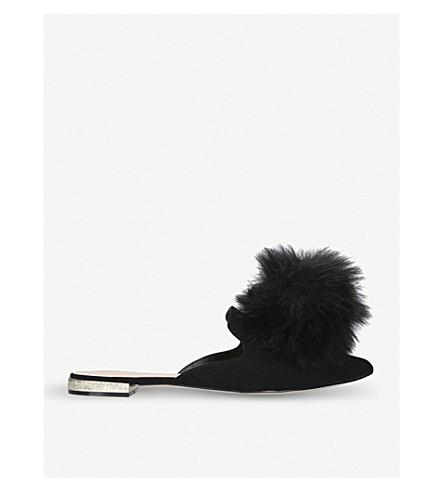 MISS KG Gold pom pom suedette slippers (Black