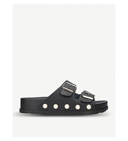 MISS KG Rain faux-pearl embellished sandals (Black