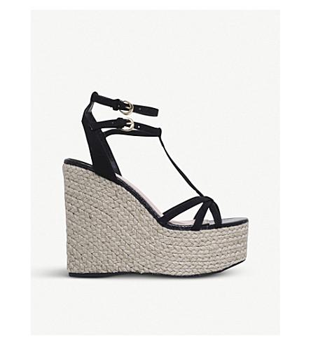 MISS KG Pamela faux-suede wedged sandals (Black