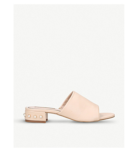 MISS KG Rea embellished faux-leather mules (Nude