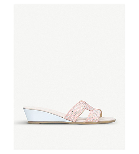 CARVELA COMFORT Sade embellished suede wedge sandals (Nude