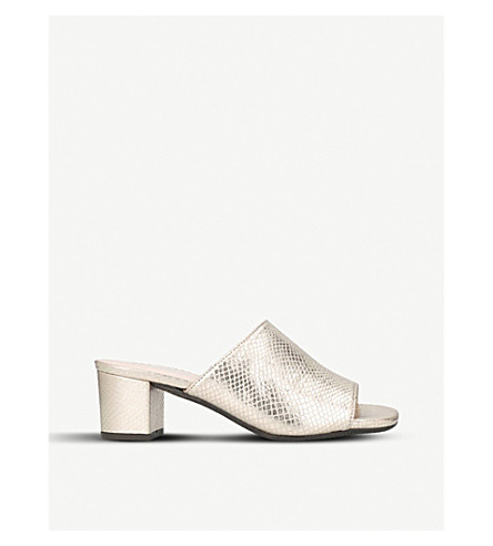 CARVELA COMFORT Abby snake-embossed metallic-leather mules (Gold