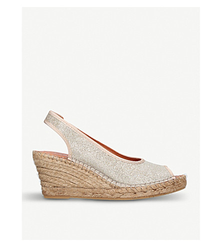 CARVELA COMFORT Sharon metallic-fabric wedge sandals (Gold