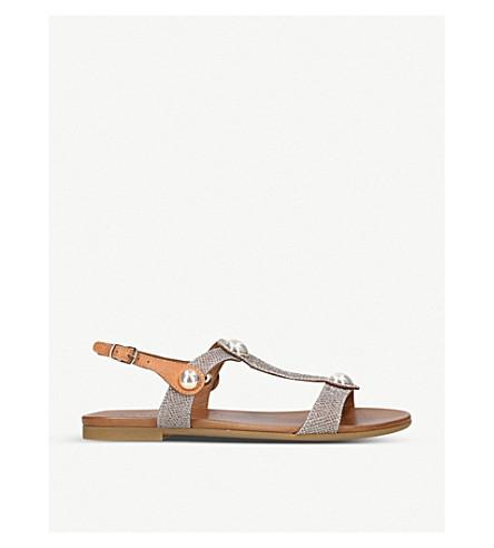 CARVELA COMFORT Saz fabric and leather embellished sandals (Gold