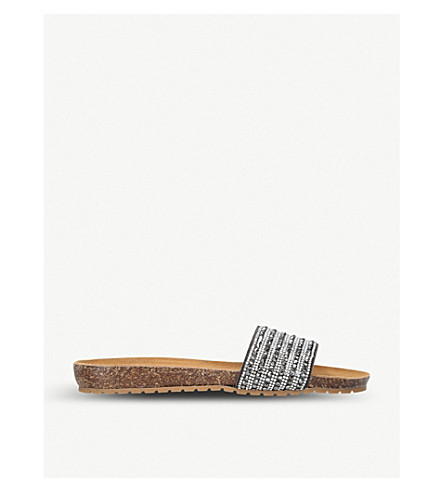 CARVELA COMFORT Super embellished suede sandals (Pewter