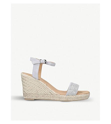CARVELA Krystal embellished suede wedge sandals (Grey