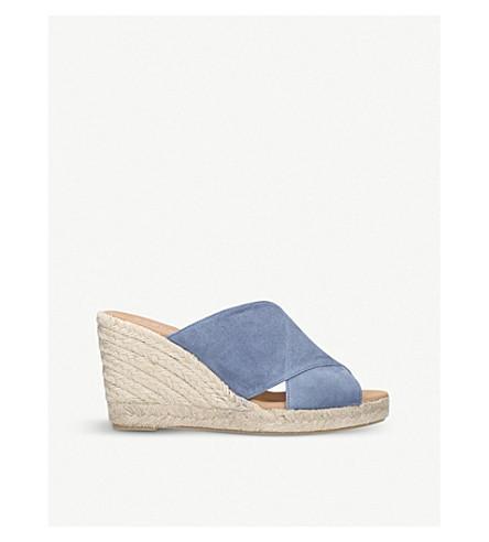 CARVELA Karp leather wedge mules (Denim