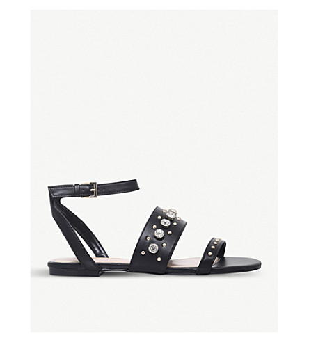 MISS KG Reach embellished faux-leather sandals (Black