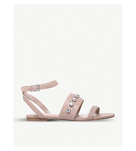 MISS KG Reach embellished faux-leather sandals (Nude
