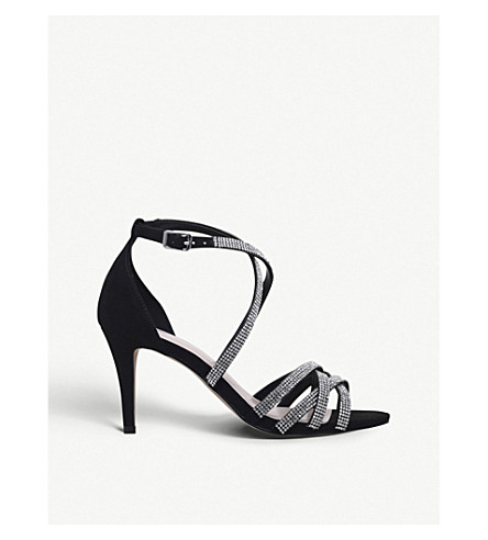 NINE WEST Diva diamante-embellished heeled sandals (Black