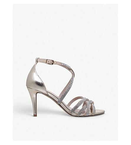 NINE WEST Diva metallic diamante-embellished heeled sandals (Gold