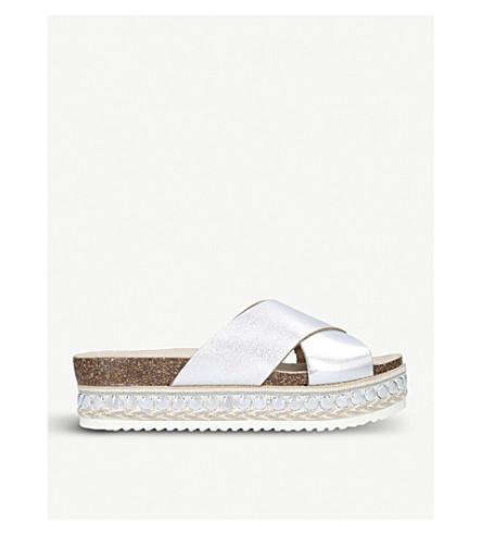 CARVELA Kake metallic leather flatform sandals (Silver
