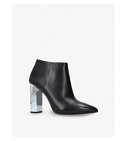 MICHAEL MICHAEL KORS PALOMA 金属鞋跟皮革踝靴 (黑色