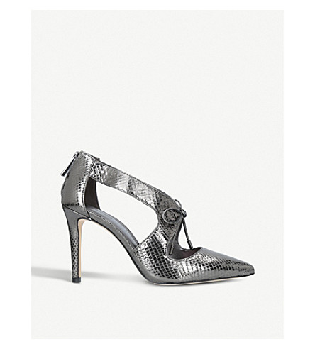 MICHAEL MICHAEL KORS Romee reptile-embossed leather courts (Gunmetal