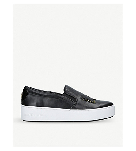 MICHAEL MICHAEL KORS Trent star-embellished leather trainers (Black