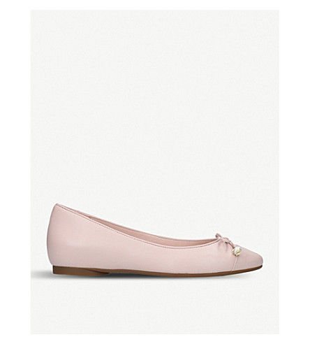 MICHAEL MICHAEL KORS Gia pearl-embellished leather flats (Pale+pink