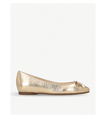 MICHAEL MICHAEL KORS Gia pearl metallic-leather flats (Gold