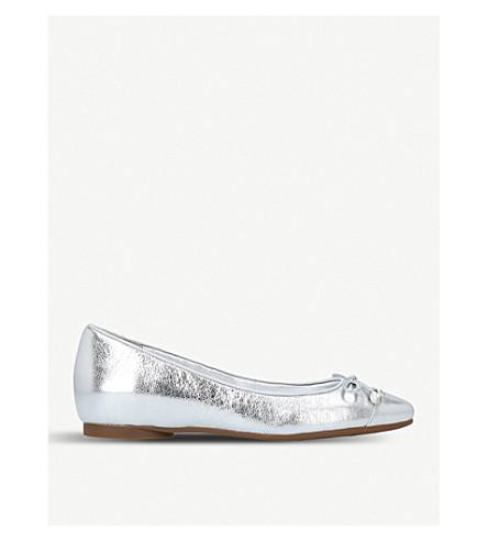 MICHAEL MICHAEL KORS Gia pearl-embellished metallic-leather flats (Silver