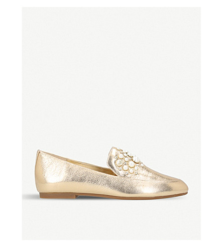 MICHAEL MICHAEL KORS Gia embellished metallic-leather loafers (Gold